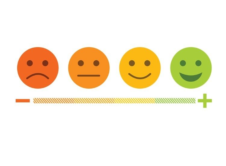 Feedback emoji from sad to happy