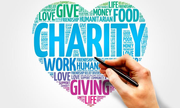 word cloud in heart shape about charity