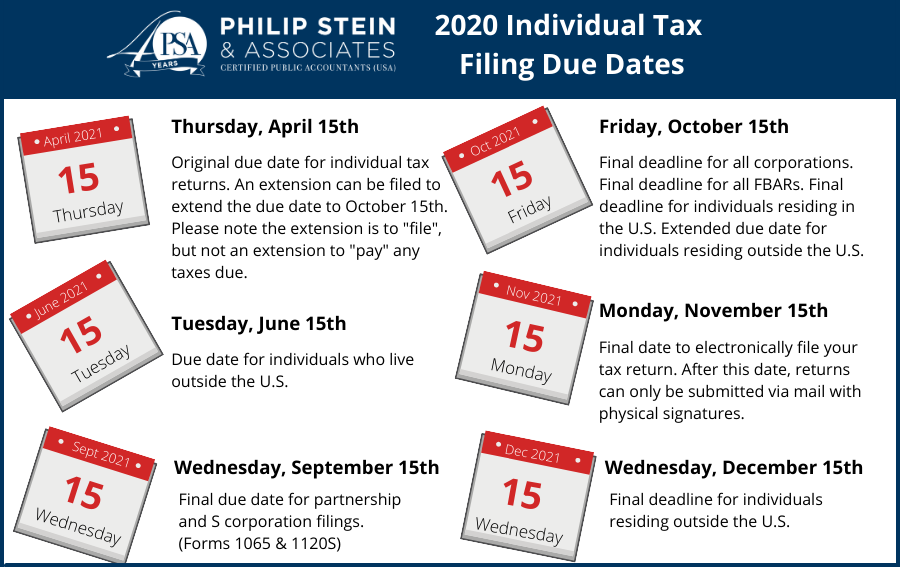 Image of calendar pages with description of tax deadlines
